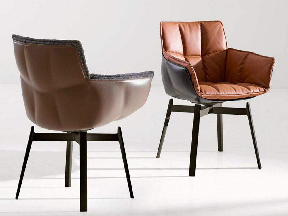 Sedia Imbottita Design : Sedia imbottita con braccioli husk b&b italia