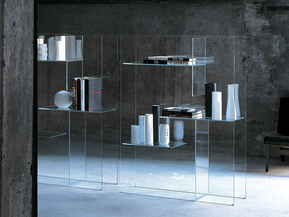 Libreria in cristallo extralight Transfix di GlasItalia